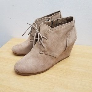 Universal Thread Bessie Microsuede Wedge Tan Booti